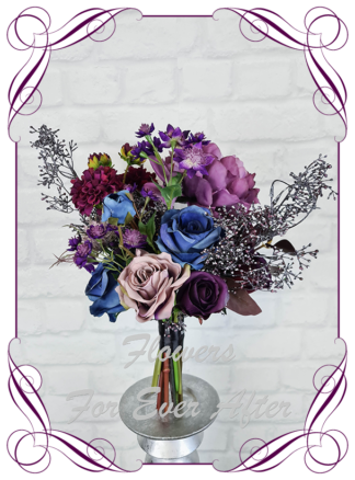 Silk purple wedding flowers, blue artificial bridesmaid bouquet, plum, black wedding flowers bridal bouquet. Dahlia, hydrangea, rose. Goth wedding, gothic style flowers , Halloween wedding theme. Vibrant wedding colours. Depp moody bridal bouquet. Made in Melbourne Australia by Australia's best silk florist.