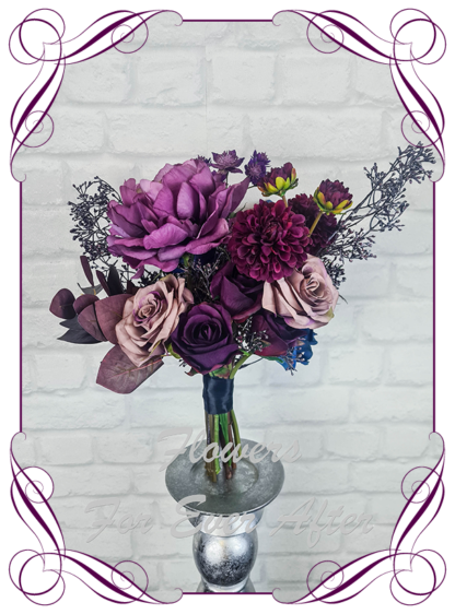 Silk purple wedding flowers, blue artificial bridesmaid bouquet, plum, black wedding flowers bridal bouquet. Dahlia, hydrangea, rose. Goth wedding, gothic style flowers , Halloween wedding theme. Vibrant wedding colours. Depp moody bridal bouquet. Made in Melbourne Australia by Australia's best silk florist.