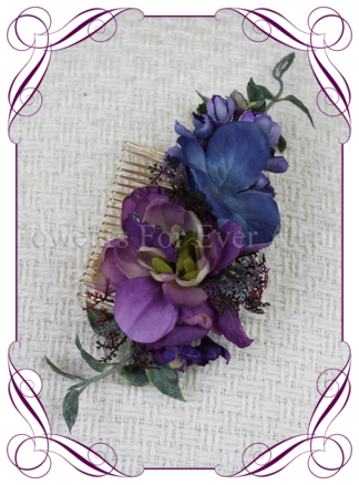 Silk artificial purple, blue bridal floral hair comb hair flowers. Vibrant wedding colours. Deep moody bridal bouquet. Made in Melbourne Australia by Australia's best silk florist.