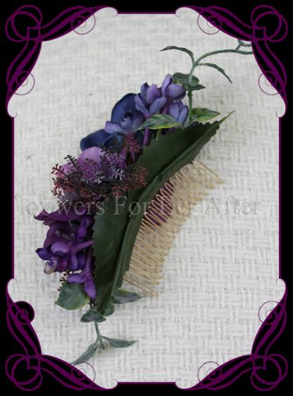 Silk artificial purple, blue bridal floral hair comb hair flowers. Vibrant wedding colours. Deep moody bridal bouquet. Made in Melbourne Australia by Australia's best silk florist.