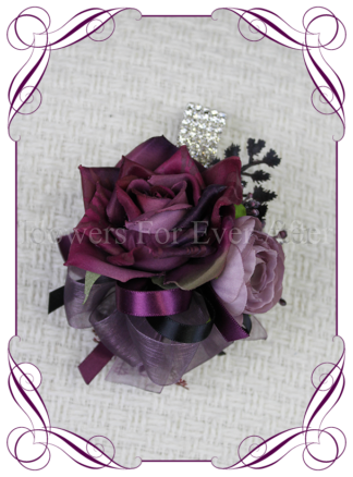Silk wrist corsage, artificial purple, black, mauve, ladies wrist corsage, mothers corsage, mother of the bride groom, prom, formal flowers. Vibrant wedding colours. Deep moody bridal bouquet. Made in Melbourne Australia by Australia's best silk florist.
