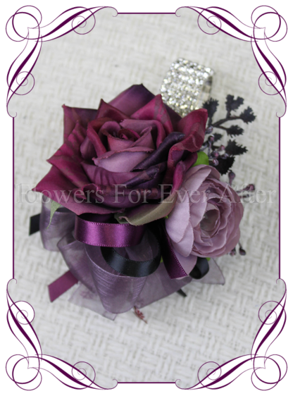 Silk artificial purple, black, mauve, ladies wrist corsage, mothers corsage, mother of the bride groom, prom, formal flowers. Vibrant wedding colours. Deep moody bridal bouquet. Made in Melbourne Australia by Australia's best silk florist.