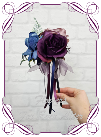 Silk purple wedding flowers, blue artificial flower girl wand , plum, black wedding flowers. Dahlia, hydrangea, rose. Goth wedding, gothic style flowers , Halloween wedding theme. Vibrant wedding colours. Depp moody bridal bouquet. Made in Melbourne Australia by Australia's best silk florist.