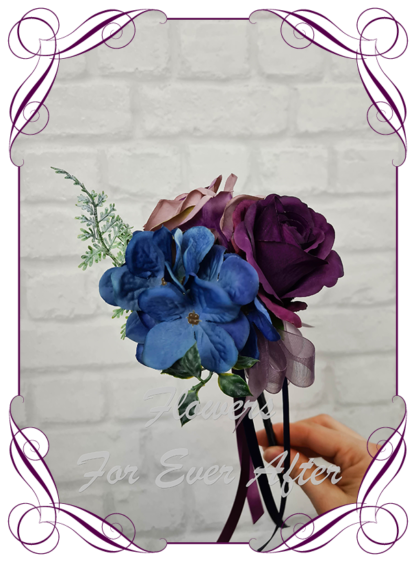Silk purple wedding flowers, blue artificial flower girl wand , plum, black wedding flowers. Dahlia, hydrangea, rose. Goth wedding, gothic style flowers , Halloween wedding theme. Vibrant wedding colours. Depp moody bridal bouquet. Made in Melbourne Australia by Australia's best silk florist.