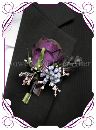 silk boutonniere artificial purple gents mens button grooms groomsmans boutonierre for wedding and formal / prom. Purple rose bud with lilac purple flowers.. Made in Melbourne Australia. Buy online, shipping world wide.