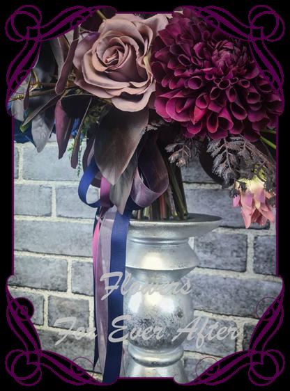 Silk purple wedding flowers, blue artificial bridal bouquet, plum, black wedding flowers bridal bouquet. Dahlia, hydrangea, rose. Goth wedding, gothic style flowers , Halloween wedding theme. Vibrant wedding colours. Depp moody bridal bouquet. Made in Melbourne Australia by Australia's best silk florist.