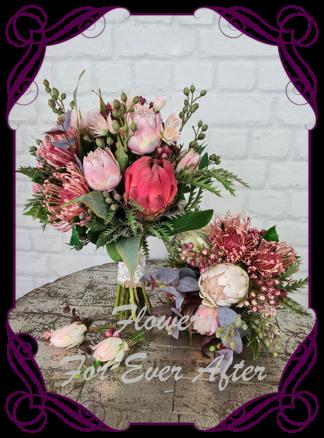 Silk artificial blush pink raspberry burgundy wedding flowers bridal bouquet package set. Protea, berries, blue gum, Australian gum leaves. Made in Melbourne Australia by Australia's best silk florist.