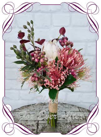 Silk artificial blush pink raspberry burgundy wedding flowers bridesmaids bouquet package set. Protea, berries, blue gum, Australian gum leaves. Made in Melbourne Australia by Australia's best silk florist.