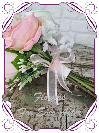 Silk wedding bouquet white and blush boho bridal flowers, artificial white floral wedding bouquet, boho whimsical bridal wedding flowers. Roses, peony, bling, crystals, fern and lace. Romantic elegant wedding flowers. Made in Melbourne Australia. Buy online, post worldwide.