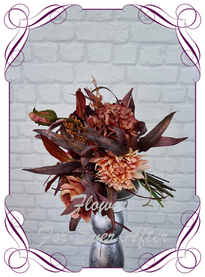 Silk wedding flowers moody boho bridal bouquet, silk floral burgundy and burnt orange wedding posy rust cascade posy bridal wedding flowers. Roses, peonies, dahlia, native blue gum. Romantic elegant wedding flowers. Made in Melbourne Australia. Buy online, post worldwide.