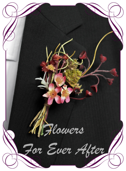 silk artificial gents mens button grooms groomsmans boutonierre for wedding and formal / prom. Rust and burgundy flowers.. Made in Melbourne Australia. Buy online, shipping world wide.