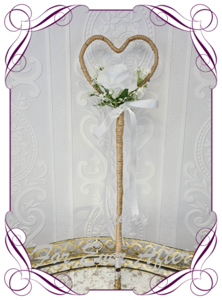 Silk artificial flower girl wand wedding flowers. White rose and baby's breath in a twine heart. Made in Melbourne. Shipping worldwide. Buy online wedding flowers.