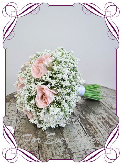Silk baby's breath bridesmaids bouquet artificial white and dusty blush pink wedding flowers. Roses with White gyp, classic rustic posy design ideas. Made in Melbourne, by Australia's best only bridal florist.