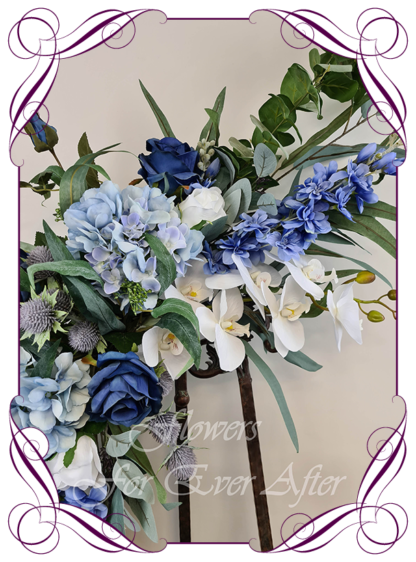 Realistic silk artificial fake flower, royal blue roses, blue hydrangea, white moth orchids, thistle, gum leaves cascading arbor corner arch decoration wedding decor. Made in Melbourne. Shipping world wide. Buy online