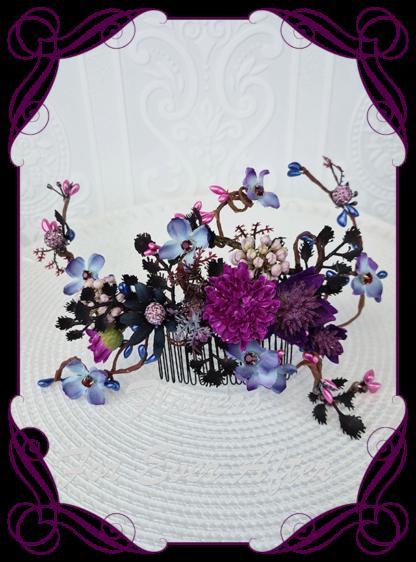 Silk artificial dark moody blue and purple bridal wedding floral hair vine. Unusual wedding flowers. Bridal hair piece. Bridal hair. Made in Melbourne Australia. Buy online, post worldwide.