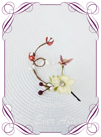Silk artificial rustic burgundy, ivory fine flowers, floral hair pin. Ideal for wedding, engagements, special events hair decoration. Made in Melbourne Australia. Buy online. Ships worldwide.