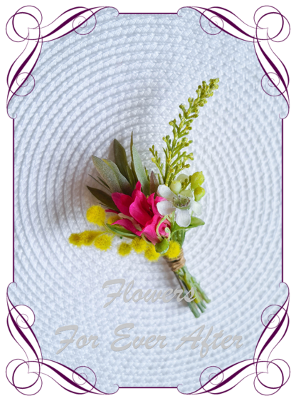 silk artificial gents mens button grooms groomsmans boutonierre for wedding and formal / prom. Bright Australian native flowers.. Made in Melbourne Australia. Buy online, shipping world wide.
