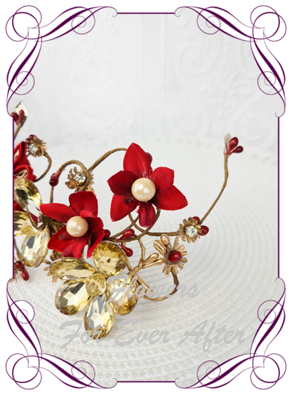 Silk artificial bridal hair flowers in red and gold. Gold crystals. Unusual floral hair comb. Bridal hair design. Indian wedding hair accessory. Wedding hair accessory. Made in Melbourne. Buy online. Shipping worldwide.
