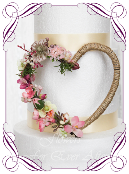 Unusual silk artificial pink and blush with twine style cake decoration topper. Made in Melbourne. Buy online. Shipping world wide. Wedding cake decoration florals, engagement, baby girl , birthday cake, girls baby shower, communion, confirmation.