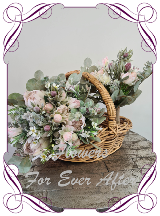 Silk artificial floral pastel blush pink bridal wedding bouquet. All Australian natives only, protea, dollar gum. Romantic elegant wedding flowers. Made in Melbourne Australia. Buy online, post worldwide. 2021 / 2022 wedding trends, in style.