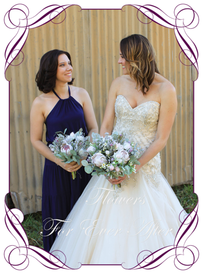 Silk artificial floral pastel blush pink bridesmaid wedding bouquet posy. All Australian natives only, protea, dollar gum. Romantic elegant wedding flowers. Made in Melbourne Australia. Buy online, post worldwide. 2021 / 2022 wedding trends, in style.