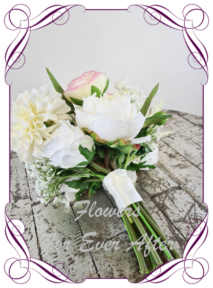 Silk baby's pastel pink peach and white bridesmaids bouquet artificial white and blush pink wedding flowers. Roses peonies dahlia orchids with White gyp, classic rustic posy design ideas. Made in Melbourne, by Australia's best only bridal florist.