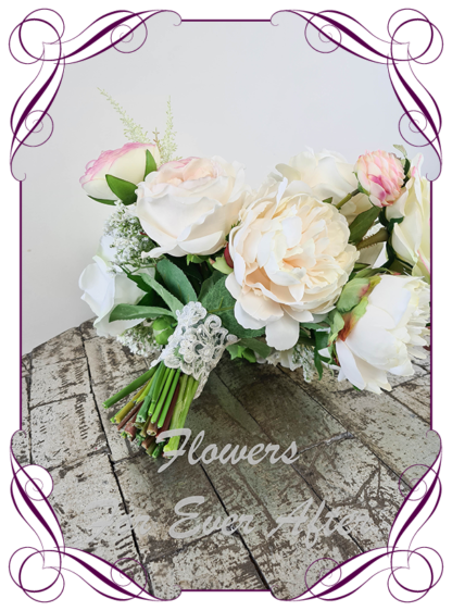 Silk baby's pastel pink peach and white bridal bouquet artificial silk wedding bouquet wedding flowers white and blush pink wedding flowers. Roses peonies dahlia orchids with White gyp, classic rustic posy design ideas. Made in Melbourne, by Australia's best only bridal florist.