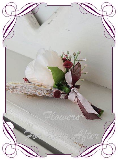 silk artificial gents mens button grooms groomsmans boutonniere for wedding and formal / prom. Cream rose bud with blush pink pampas and native gum leaves. Made in Melbourne Australia. Buy online, shipping world wide.