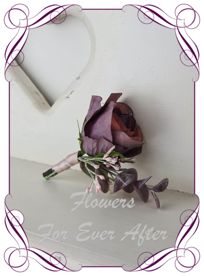 silk artificial gents mens button grooms groomsmans boutonniere for wedding and formal / prom. Plum burgundy rose bud with blush pink pampas and native gum leaves. Made in Melbourne Australia. Buy online, shipping world wide.