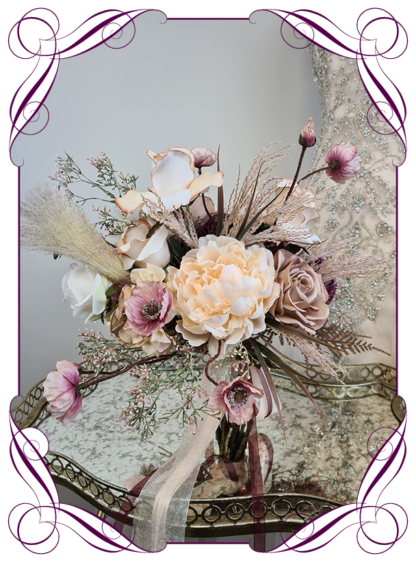 Silk artificial blush natural coffee and plum burgundy soft floral boho whimsical bridal wedding bouquet. Roses, poppies,pampas, latte, tan, brown, banksia, Australian native. Romantic elegant wedding flowers. Made in Melbourne Australia. Buy online, post worldwide.