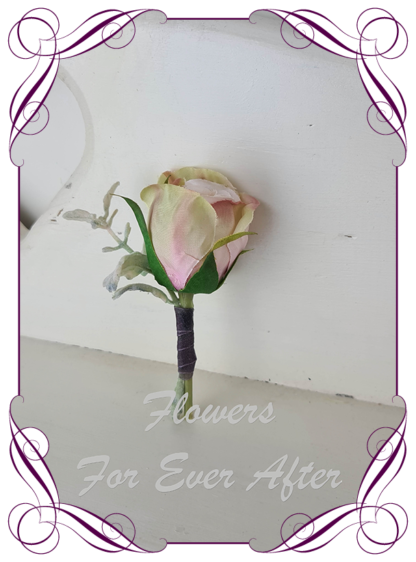 Silk artificial elegant blush pink rose mens button boutonniere wedding prom formal. Unusual wedding flowers, unusual mens pocket flower, men's fashion. Made in Melbourne by Australia's best silk florist. Buy online. Shipping worldwide