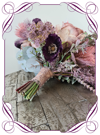 Silk artificial blush pink and plum purple soft floral boho whimsical bridal wedding bouquet. Roses, poppies, protea, banksia, Australian native. Romantic elegant wedding flowers. Made in Melbourne Australia. Buy online, post worldwide.