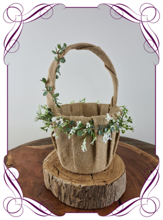 Silk artificial flower girl baby's breath basket for wedding. Childs basket. Made in Melbourne Australia. Post world wide