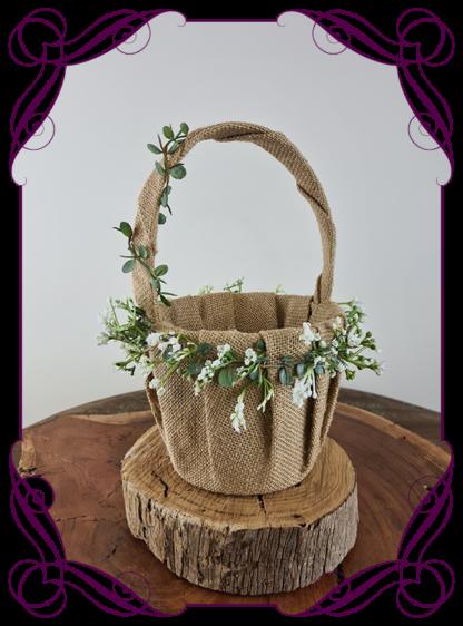 Silk artificial flower girl baby's breath basket for wedding. Childs basket. Made in Melbourne Australia. Post world wide