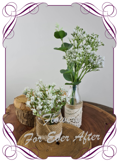 Silk artificial baby's breath and eucalypt gum bunch cluster table centrepiece decoration. Wedding table florals. simple white wedding rustic table centrepiece. Made in Australia. Buy online. Shipping world wide