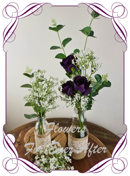 Silk artificial purple roses and baby's breath and eucalypt gum bunch cluster table centrepiece decoration. Wedding table florals. simple white wedding rustic table centrepiece. Made in Australia. Buy online. Shipping world wide