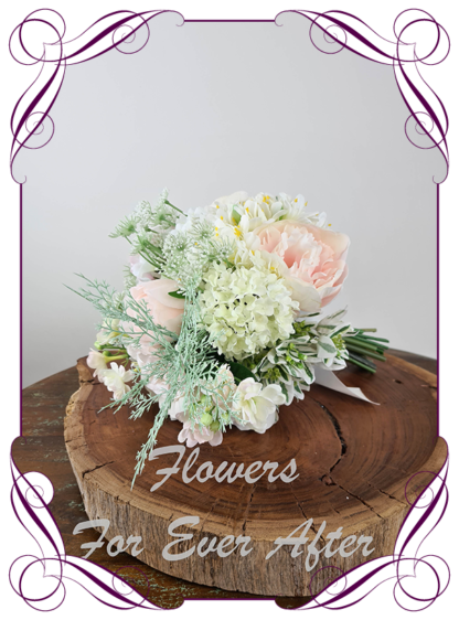 Silk artificial romantic blush pink and white soft look pastel bridal wedding bouquet. Roses, peonies, David Austin roses, snowball, jasmine. Romantic elegant wedding flowers. Made in Melbourne Australia. Buy online, post worldwide.
