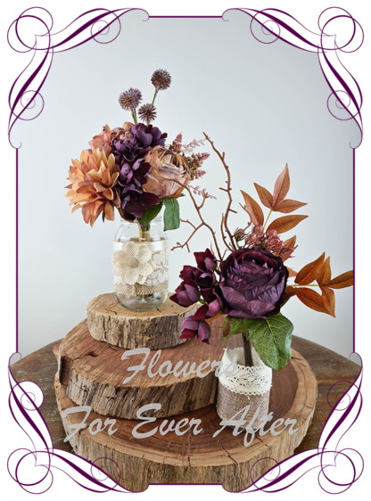 Silk artificial autumn fall rustic colour plum purple and burnt orange and brown, table centrepiece decoration. Wedding table florals. simple wedding rustic table centrepiece. Made in Australia. Buy online. Shipping world wide