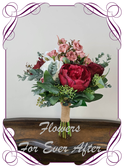 Silk artificial burgundy, ivory, rose gold and blush pink elegant wedding bridal bouquet posy. Roses, native gum foliage leaves, peonies. Made in Melbourne Australia, post worldwide. Elopement. Eloping bouquet flowers.