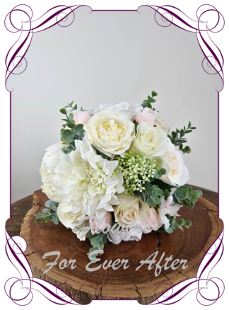 Silk artificial romantic blush pink and white soft look pastel bridal wedding bouquet. Roses, peonies, Dahlia, blue gum native foliage. Romantic elegant wedding flowers. Made in Melbourne Australia. Buy online, post worldwide.