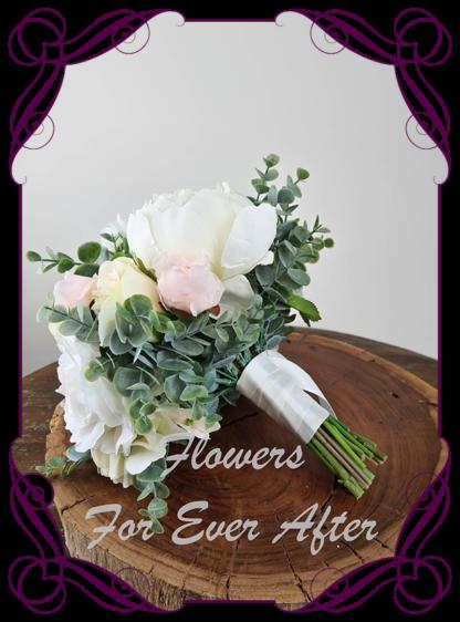 Silk artificial romantic blush pink and white soft look pastel bridal wedding bouquet. Roses, peonies, Dahlia, blue gum native foliage. Romantic elegant wedding flowers. Made in Melbourne Australia. Buy online, post worldwide.