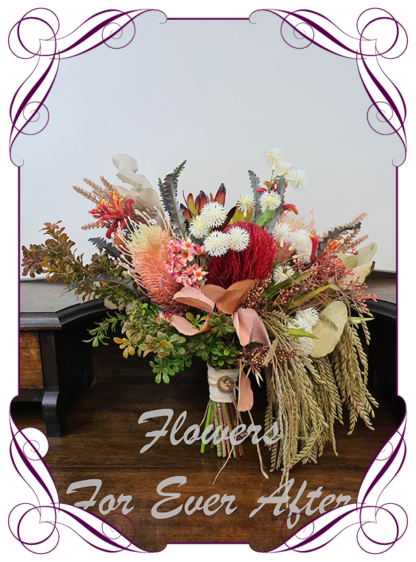 Silk artificial red ivory pink sage rustic boho elegant wedding bridal bouquet posy. All Australian native flowers and gum foliage leaves. Made in Melbourne Australia, post worldwide. Elopement. Eloping bouquet flowers.
