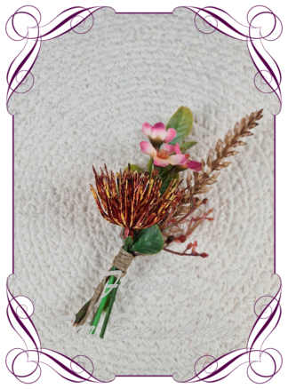 silk artificial gents mens button grooms groomsmans boutonierre for wedding and formal / prom. Native Australian flowers. Made in Melbourne Australia. Buy online, shipping world wide.