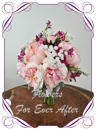 Silk artificial romantic mixed different pink and white bridal wedding posy bouquet. Roses, peonies. Romantic elegant wedding flowers. Made in Melbourne Australia. Buy online, post worldwide.