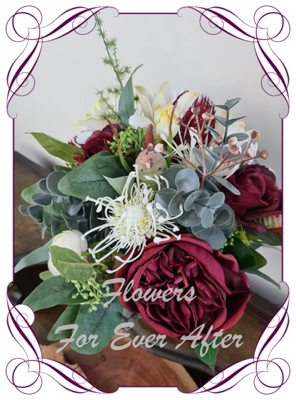 Silk artificial burgundy, ivory, champagne elegant wedding bridal bouquet posy. Roses, native gum foliage leaves, peonies, native Australian flowers. Made in Melbourne Australia, post worldwide. Elopement. Eloping bouquet flowers.
