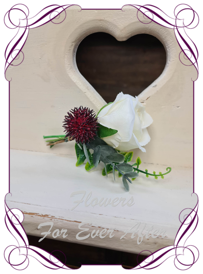 silk artificial gents mens button grooms groomsmans boutonniere for wedding and formal / prom. Ivory rose bud with native burgundy and native gum leaves. Made in Melbourne Australia. Buy online, shipping world wide.