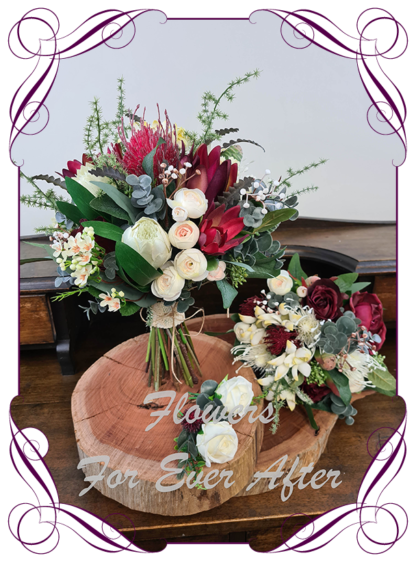 Silk artificial burgundy, ivory, champagne elegant wedding bridal bouquet posy. Roses, native gum foliage leaves, protea, banksia, native Australian flowers. Made in Melbourne Australia, post worldwide. Elopement. Eloping bouquet flowers.