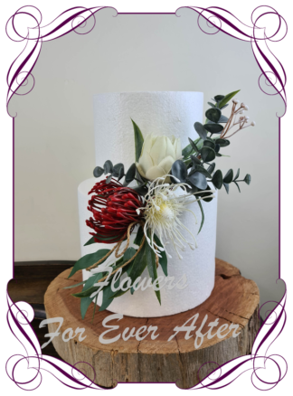 Silk artificial burgundy red, ivory, protea, elegant wedding cake topper decoration. Protea, Australian Native, native gum foliage leaves. Made in Melbourne Australia, post worldwide. Elopement. Eloping bouquet flowers.