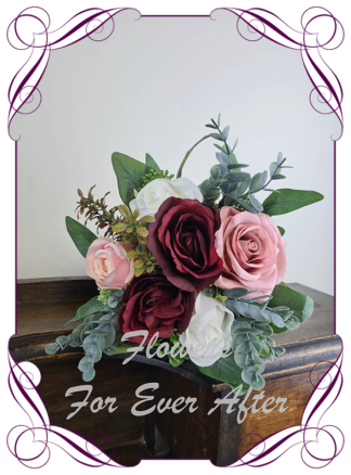 Silk artificial burgundy, ivory, rose gold and blush pink elegant wedding flower girl bouquet posy. Roses, native gum foliage leaves, peonies. Made in Melbourne Australia, post worldwide. Elopement. Eloping bouquet flowers.