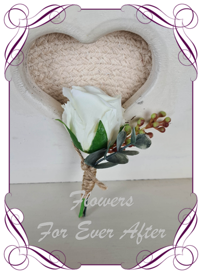 silk artificial gents mens button grooms groomsmans boutonniere for wedding and formal / prom. White rose bud with Australian native gum leaves foliage. Made in Melbourne Australia. Buy online, shipping world wide.